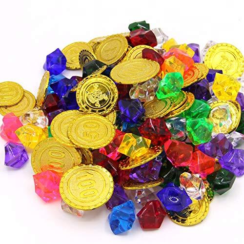 Amaoma Goldmünzen Piratenschatz und Piraten Edelsteine Piratenschatz Spielzeugs Pirat Kunststoff Goldmünzen 50 Pcs Piraten Edelsteine 100Pcs für Hochzeit Tisch Vasen Deko Kindergeburtstag Piratenparty -