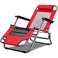 ZZ-aini Folding Reclining Lounge Chair, With Armrest With Headrest Patio Outdoor Beach Garden Office Zero Gravity Chairs Adjustable