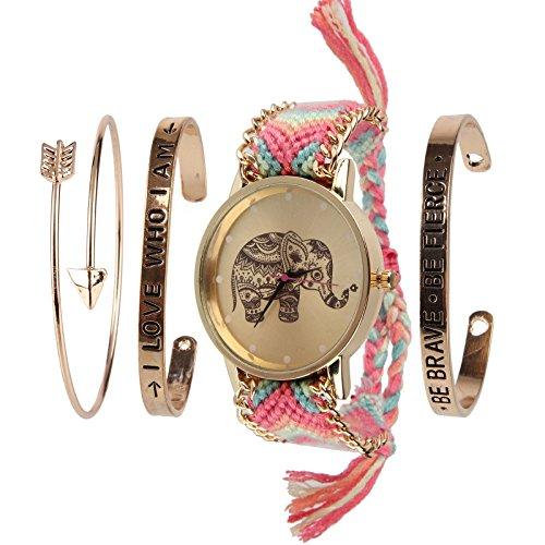 Beauty7 Relojes Tejido y Pulsera con Raya Costumbre Popular Elefante Arco Hilado para Mujeres con 3 Pulsera Metálico Elegante Moda Bonita