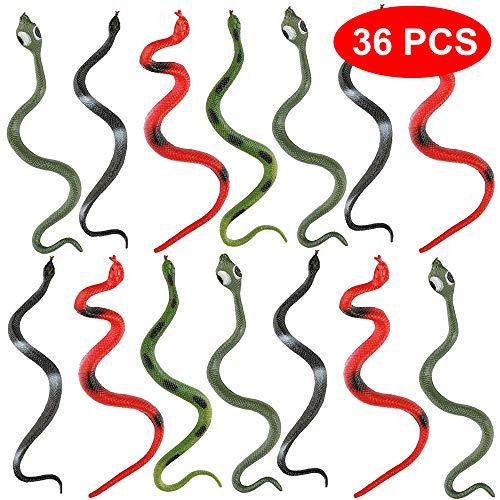 Gummi Falsche Schlangen - in 6 Verschiedenen Designs - Ideal für Partygeschenke, Partytaschenfüller, Scherzartikel Spielzeug für Halloween - Geburtstagspartys ()