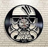 Klassischen Star Wars-Thema Vinyl-Schallplatte Wanduhr,Klassisch Hohle Home Dekor Wanduhr Retro-Uhr-AD 30cm(12inch)