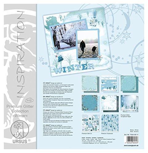 Ursus 70340011 - Premium Glitter Collection Winter, ca. 30,5 x 30,5 cm, 6 Blatt Papier, 1 Die-Cut und 1 Chipboard