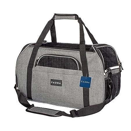 Fauna CARRIER-1001 Pet Travel Carrier Hund/Katze/Puppy–leicht zusammenklappbar Flugzeug Tasche mit weichem Kissen, Dark Grey