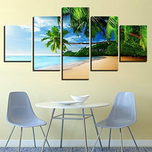 Bilder Auf Leinwand Dekorative Malerei Kunst Gedruckt Moderne Palme Strand Seascape Landschaft Muster 5 Stücke Bilder Gemälde Auf Leinwand Wandkunst Für Schlafzimmer Home Office