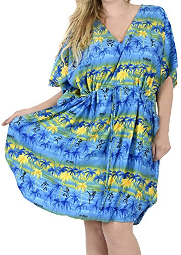 La Leela 5 Damen in 1 likre caribbean aloha Tunika Palmtop Abendkleid Bikini Kimono fit Badeanzug Badebekleidung entspannt verschleiern Lounge Bademode plus kurze beiläufige Nachtwäsche Bade Kaftan Königsblau