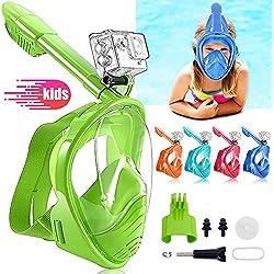 HINATAA Masque de Plongée pour Enfant, Couleur Masque Snorkeling Plein Panoramique Visage 180°Visible, Protection Anti-Fog Anti-Fuite Sécuritaire Compatible GoPro, pour Enfants 4-12 Ans (Vert)
