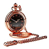 Family Name Engraved Coat of Arms Rose Gold Pocket Watch and chain Luxury Gift Crested Family name crest Engraved