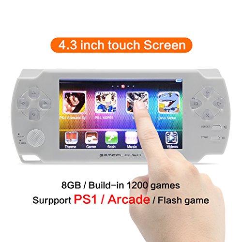 CZT 4,3 pulgadas de pantalla táctil 8 GB de consola de videojuegos Consola Consola de videojuegos construir en 1200 no repetir juego para PS1/Arcad/flash/gba/fc/gbc/smd/sfc MP3/4 (blanco)