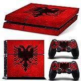 PlayStation 4 Designfolie Sticker Skin Set für Konsole + 2 Controller - Flagge Albanien