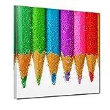 Bilderdepot24 Kunstdruck - Buntstifte - Bild auf Leinwand - 40x40 cm einteilig - Leinwandbilder - Bilder als Leinwanddruck - Wandbild