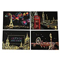 Festiday 1set Sale Kids Toy, 4pcs 20x14cm Magic Scratch Art Painting Paper With Drawing Stick Toy Gift Education Toy for Boys Girls Children for 3 4 5 6 + Years Old Toys