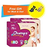 Super Champs High Absorbent Premium Pant Style Diaper (Pack Of 2) (Free Pair Of Secret And Loafer Socks) | Premium Pant Diapers | Premium Diapers | Premium Baby Diapers | Anti-rash And Anti-bacterial Diaper | (Medium, 56)