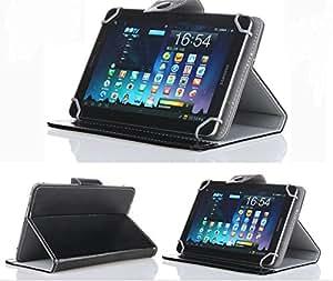 "BELTON 8"" Tablet Hard Case - Black Faux Leather Carrying Case"