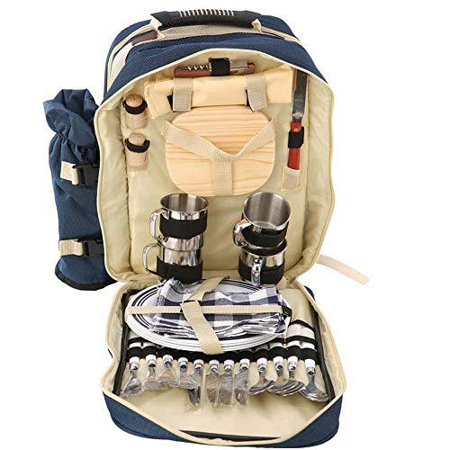 CFPPX Outdoor 4 Personen Picknick Rucksack Rucksack Tragbare Camping BBQ Lunch Bag Mit Geschirr Set Picknick Taschen Blau/Grün,Blue