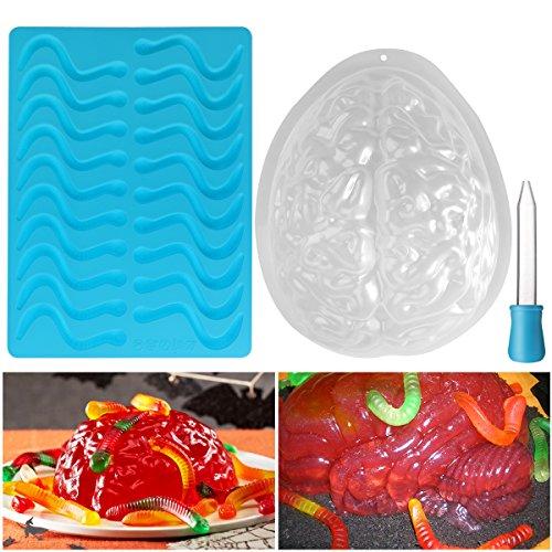 BESTONZON Halloween Brain Mould Set Gelatine Zombie Gehirn Jello Schimmel und Silikon gummiartige Wurm Schimmel Geeignet für Halloween-Party