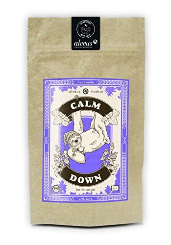 alveus® Calm Down Herbal ORGANIC: Lose Teemischung mit Melisse, Fenchel, Süßholzwurzel, Rosmarin, Salbei, Lavendel, Hopfenblüten und Baldrian, 100g Tüte