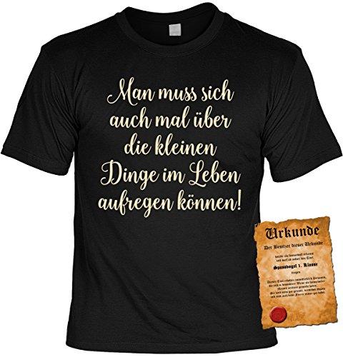 Spaß/Fun-Shirt inkl. Spaß-Urkunde/lustige Sprüche: Man muss sich auch mal über die kleinen Dinge im Leben aufregen können! Schwarz