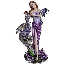 Statua o Soprammobile a forma di fatina viola, con grande drago, 22 cm; altezza: Consegna gratuita