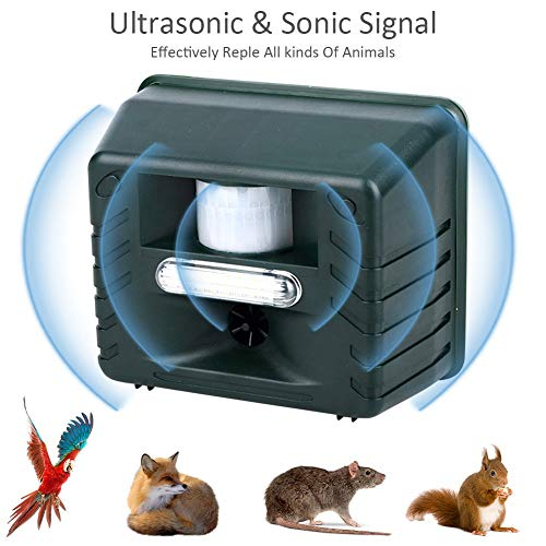 Coogel Ultrasonic with Pest Repeller Waterproof Outdoor Animal Repeller with Ultrasonic Sound and Flashing Light Activated by Motion - Very Effective for Cats Dogs Squirrels Moles Rats -
