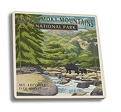 Leconte Creek and Mt. Leconte - Great Smoky Mountains National Park, TN (Set of 4 Ceramic Coasters - Cork-backed, Absorbent) by Lantern (Mt Nationalpark)