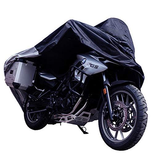 Mmyunx Wasserdichte Motorrad Abdeckung Im Freien, Alle Wetter Außenschutz, Präzision Fit Für 108 Zoll Motoren Wie Honda, Yamaha, Suzuki, Harley Und Mehr-XXL, Schwarz,XXXL (Honda Fit Motor)