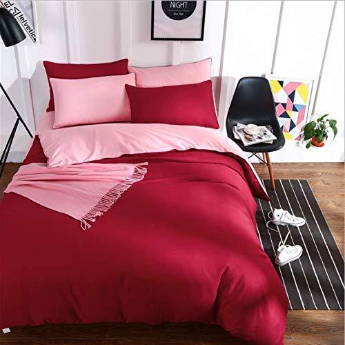Ägypten Baumwolle Einfarbig Bettwäsche Set Seidig Reine Bettbezug Set Einzelprodukt Bettlaken Kissenbezüge Twin Queen King Size Rot 220x240cm - Twin-size-bettlaken