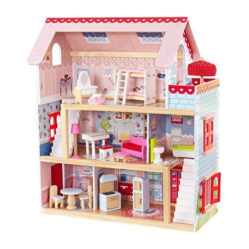 KidKraft 65054 Chelsea Doll Cottage Wooden Dolls House with furniture and accessories included, 3 storey play set