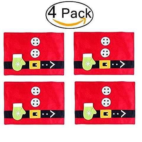 Pixnor 4pcs Weihnachten Tisch Läufer Tischsets Einstellung Mat Party Besteckhalter