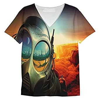 Snoogg Astronauts Mask Mens Casual V Neck All Over Printed T Shirts Tees