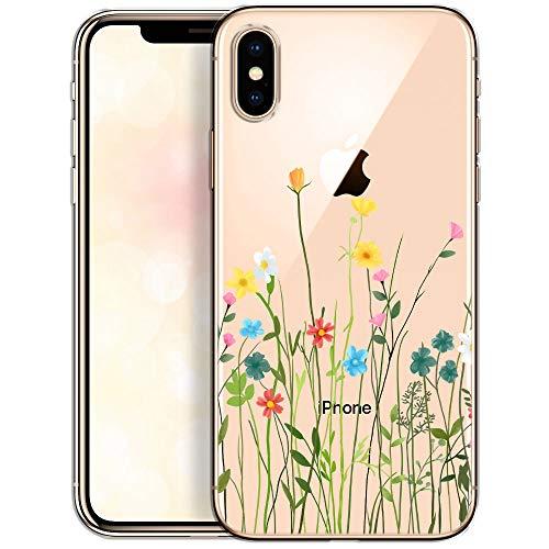 OOH!COLOR Collection 2019 Handyhülle kompatibel mit iPhone X iPhone XS Hülle transparent dünn Slim Bumper Silikon Schutzhülle durchsichtig Case mit Motiv Blumenwiese (EINWEG)
