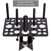 CINEEN Soporte de para cepillos de maquillajes plegable Titular de cepillo del maquillaje de secado Panel de herramientas estante organizador cosmético(Negro)
