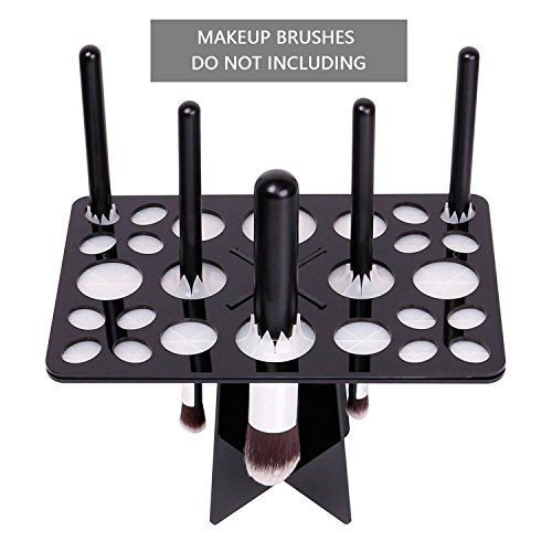 Cineen professionale pieghevole di essiccazione di pennelli di trucco organizzatore albero makeup brushes holder supporto strumento cosmetic(nero)