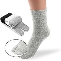 PIXNOR 3 paia cotone elastico Tabi calzini della punta (bianco + grigio + nero)