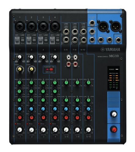 Yamaha MG10 Mixer Analogico, 10 Ingressi, Nero/Blu