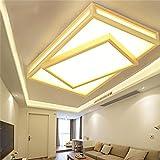 Lampes de plafond-simple en bois de style japonais lampe de table de salon rectangulaire en bois chambre à coucher principale confortable prix lumière LED-Efficacité:A+++ ( Taille: deux couches )