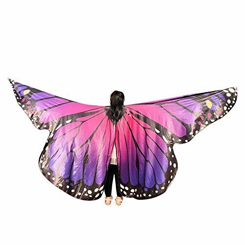 LILICAT Schmetterlingsflügel Kinder Baby Mädchen Bauchtanz Kostüm Tanz Sticks Chiffon Schal Cosplay Fasching Kostüm Fee Damen Mantel mit Augenmaske