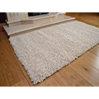 Soft Touch Shaggy Ivory Cream Thick Luxurious Soft 5cm Dense Pile Rug. Available in 7 Sizes (66cm x 120cm)