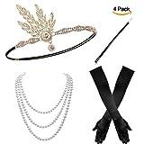 Canvalite 4pcs 20er Flapper Gatsby Kostüm Zubehör Set–1x Stirnband, Handschuhe, 1x KFZ-Halterung, mit Halskette