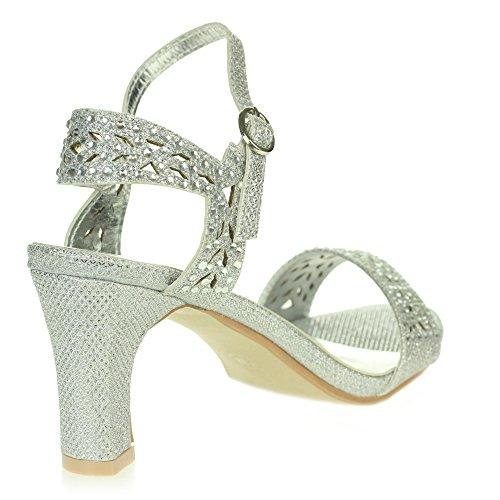 Femmes Dames Diamante Soir Mariage Fête Bal de promo De mariée Open Toe Sangles de cheville Des sandales Chaussures Taille Argent.