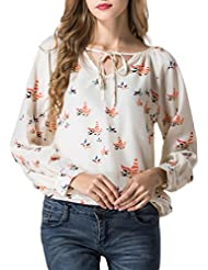 Minetom Mujer Otoño Verano Casual Manga Larga Atadura Blusa Imprimir Camiseta Tops