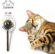 Mumoo Bear 2PCS Natural Cat Treats Cat Toy Catnip Lollipop,Cat Mint Ball Stick Catnip Toys Cat Dental Chews Te