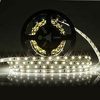 LEDMO Luce di striscia principale, SMD2835 Non-impermeabile bianco 6000K DC12V 300 LED Light Strip 5 metri di altezza CRI80 15 Lumen adesivo LED luci di striscia principale flessibile strisce di nastro illuminazione per armadio da cucina, camera da letto, TV, illuminazione decorativa