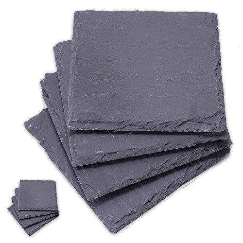 Set di 8 sottobicchieri da 10x 10cm in ardesia con gommini antiscivolo, confezione da 8 pezzi– in vera ardesia naturale