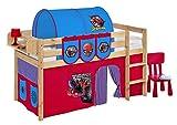 Spielbett JELLE Spiderman - Hochbett LILOKIDS - natur - mit Vorhang