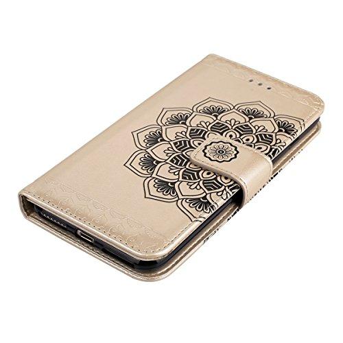 JAWSEU Coque Etui pour iPhone 7 Portefeuille Pu,iPhone 7 étui Folio en Cuir,iPhone 7 Coque à Rabat Magnétique Housse Etui de Protection Luxe Mode La moitié de la fleur Motif Ultra Slim Mince Pure Leat or/leather