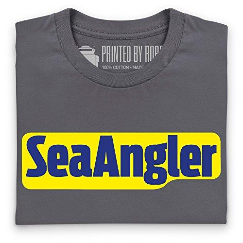 Sea Angler Logo T-Shirt, Herren Anthrazit
