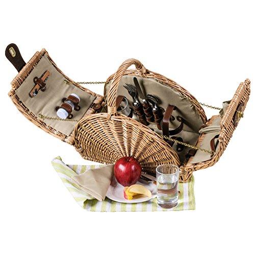 Green Mango Edler halbrunder Picknickkorb für 2 Personen - Luxus Ausstattung mit allem was man braucht