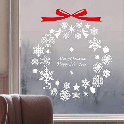 JSWBNMU Wandaufkleber Weihnachten,Kreative Schneeflocke Bögen Kunst Aufkleber Abnehmbare Fenster Tür Home Home Fenster Vinyl Aufkleber Wandmalereien -