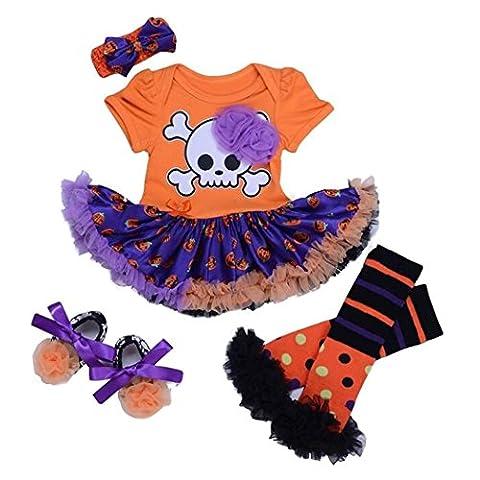 Baby Mädchen Kostüm Kleid Halloween-Kleid Fasching Karneval Cosplay 4PSC