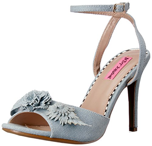 Betsey Johnson Women's Jaime Heeled Sandal, Denim Multi, 6 M US (Womens Schuhe Denim)